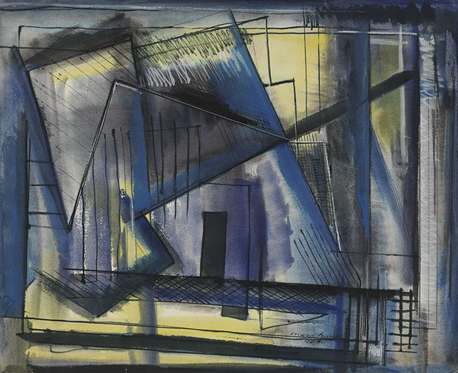 <p>Untitled (Architectural Abstraction), 1945<br /> Oil, watercolor, and ink on paper, 17 x 21 1/4 in.<br /> Estate of Norman W. Lewis; Courtesy of Michael Rosenfeld Gallery, New York<br /> &copy; Estate of Norman W. Lewis; Courtesy of Michael Rosenfeld Gallery LLC, New York, NY</p>