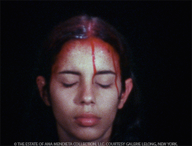 <p>Ana Mendieta <br /><em>Sweating Blood</em>, 1973 <br />Super 8 film, color, silent</p>