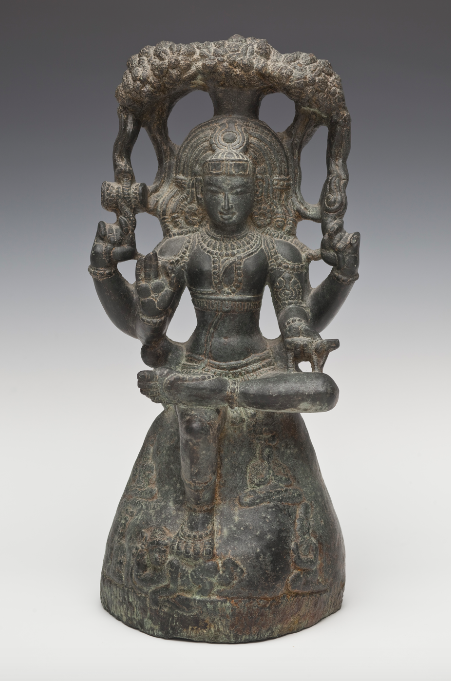 <p><em>Temple Sculpture of Shiva as the Supreme Teacher (Dakshinamurti)</em>, India, Tamil Nadu, 12th century. Volcanic stone. Santa Barbara Museum of Art, Gift of Dr. Robert and Dr. Ann Walzer.</p>