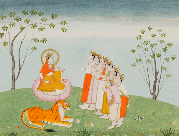<p><em>The Gods Appeal to the Great Devi for Help</em>, Folio from a Devimahatmya series with Sanskrit text in Devanagari script on reverse, India, Himachal Pradesh, Kangra, early 19th century. Color and gold on paper. Lent by Narendra and Rita Parson.</p>