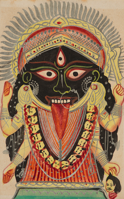<p><em>Goddess Kali, Manifestation of Devi (Great Goddess)</em>, India, West Bengal, Kolkata (Calcutta), late 19th century. Color and silver on paper. Santa Barbara Museum of Art, Gift of Pratapaditya and Chitra Pal.</p>