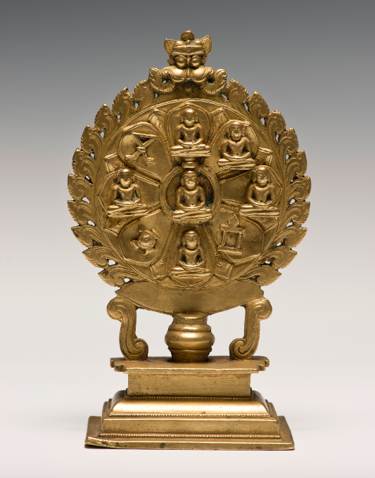 <p><em>Digambara Icon of the Nine Divinities (Navadevata)</em>, India, Karnataka, 15th century. Brass. Lent by Narendra and Rita Parson</p>