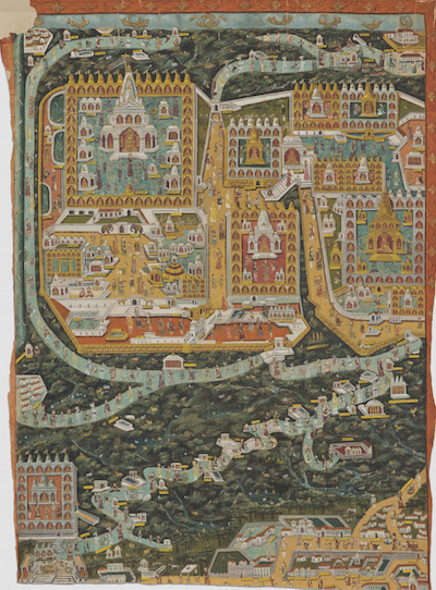<p><em>Shatrunjaya Pata, a Cartographic Overview of the Famous Jain Pilgrimage Center at Mount Shatrunjaya in Gujarat,</em> India, Rajasthan or Gujarat, c. 1900. Color on cloth. Santa Barbara Museum of Art, Gift of Dr Narendra and Rita Parson</p>