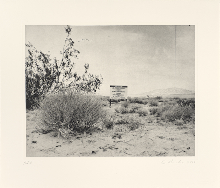 <p>Ed Ruscha<br />Desert Gravure, 2006<br /> Photogravure, 21 &frac14; x 24 &frac34; in.<br /> Published by Crown Point Press, San Francisco<br /> Fine Arts Museums of San Francisco, Crown Point Press Archive<br /> Gift of Crown Point Press</p>