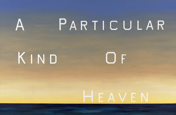 <p>Ed Ruscha<br /> A Particular Kind of Heaven, 1983 <br /> Oil on canvas, 90 x 136 1/2 in. <br /> Fine Arts Museums of San Francisco<br /> Museum purchase, Mrs. Paul L. Wattis Fund</p>
