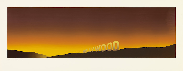 <p>Ed Ruscha<br />Hollywood, 1968<br /> Color screenprint, 17 &frac12; x 44 7/16 in.<br /> Fine Arts Museums of San Francisco<br /> Museum purchase, Mrs. Paul L. Wattis</p>