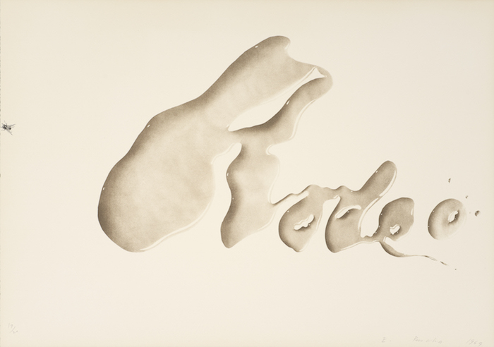 <p>Ed Ruscha<br /> Rodeo, 1969<br /> Color lithograph, 17 x 24 in.<br /> Published by Tamarind Lithography Workshop, Los Angeles<br /> Fine Arts Museums of San Francisco<br /> Museum purchase, Mrs. Paul L. Wattis Fund</p>
