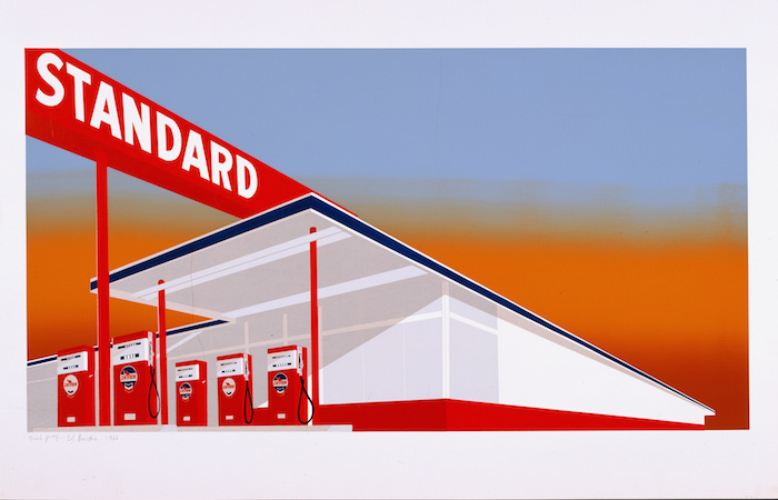 <p>Ed Ruscha<br /> Standard Station, 1966 <br /> Color screenprint, 25 5/8 x 40 in. <br /> Published by Audrey Sabol<br /> Fine Arts Museums of San Francisco<br /> Museum purchase, Mrs. Paul L. Wattis Fund</p>