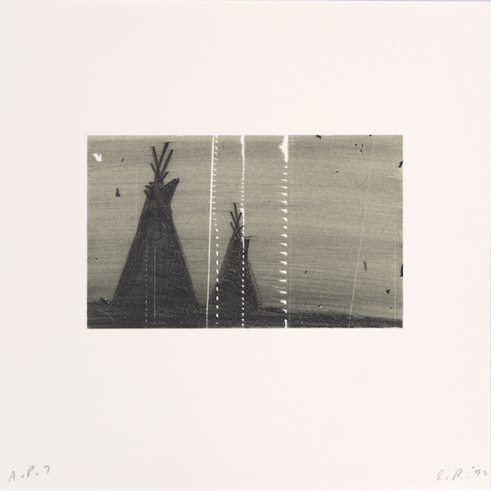 <p>Ed Ruscha<br /> Teepees, from the portfolio Cameo Cuts, 1992<br /> Color lithograph, 12 1/16 x 12 1/16 in.<br /> Published by Edition Julie Sylvester, New York<br /> Fine Arts Museums of San Francisco<br /> Museum purchase, Mrs. Paul L. Wattis Fund</p>