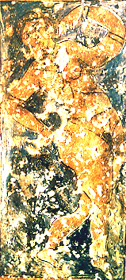 <p>Figure 17a. Qusayr &#39;Amra, hall, west arch, south soffit: dancing girl (fresco). Fot&oacute;grafos Oronoz, Madrid.</p>