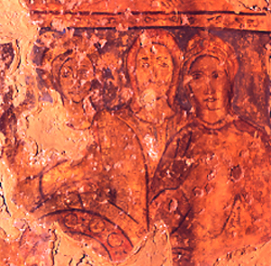 <p>Figure 20. Qusayr &#39;Amra, hall, central aisle, south wall above alcove arch: mukhannathun? (fresco). Fot&oacute;grafos Oronoz, Madrid.</p>