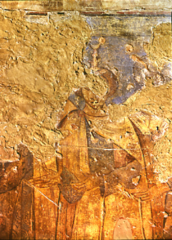 <p>Figure 53. Qusayr &#39;Amra, hall, west wall: six kings, detail of Kisra (fresco). Fot&oacute;grafos Oronoz, Madrid.</p>