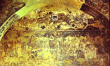 <p>Figure 60. Qusayr &#39;Amra, hall, west wall: hunting scene, six kings, bathing beauty, acrobats (frescoes). Fot&oacute;grafos Oronoz, Madrid.</p>