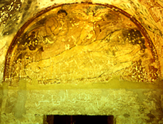<p>Figure 62. Qusayr &#39;Amra, apodyterium, lunette over door into hall: death of Salma (fresco). Fot&oacute;grafos Oronoz, Madrid.</p>